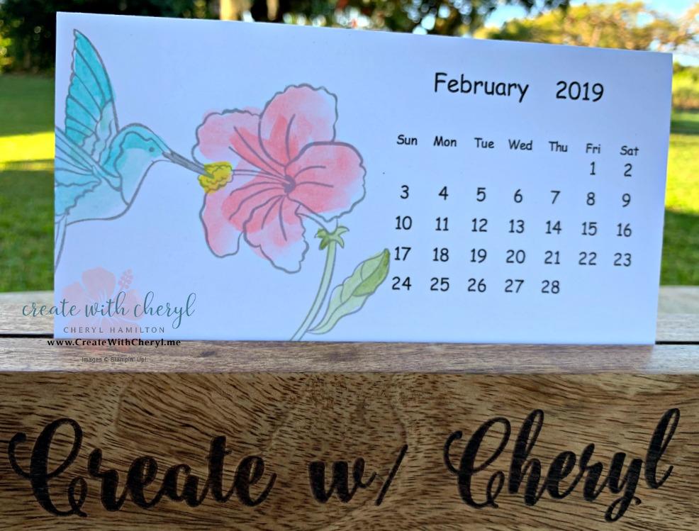 January Calendar #createwithcheryl #stampinup #calendar #hummingalong