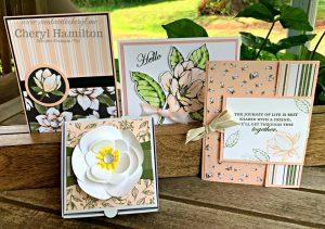Magnolia Suite Class #createwithcheryl #stampinup #magnolialanesuite #goodmorningmagnolia #handmadecards #diyboxes #weddingfavors