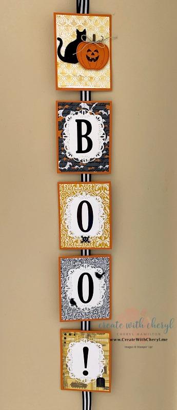 BOO! Wall Hanging #createwithcheryl #halloween #homedecor #stampinup #diyhalloween