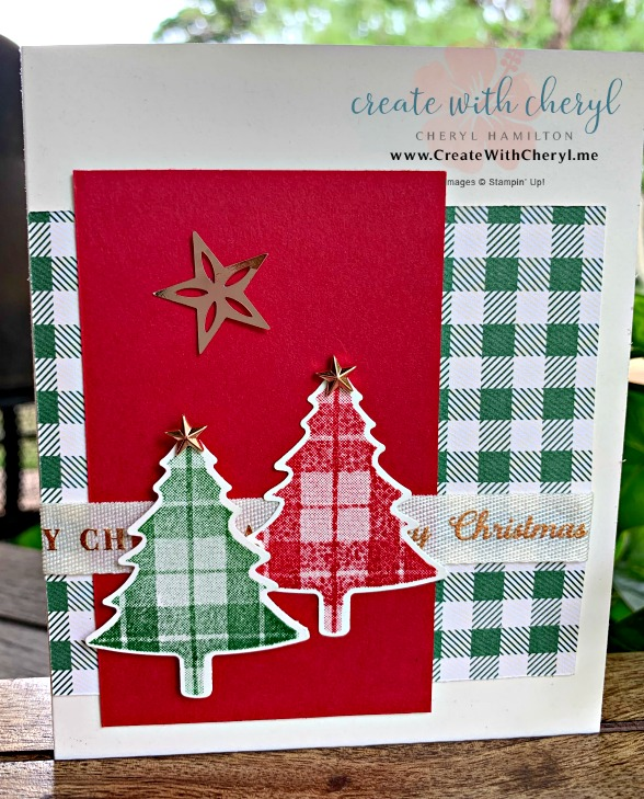#createwithcheryl #handmadechristmascards #perfectlyplaid #pinetreepunch