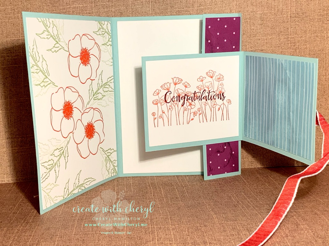 Painted Poppies Fun Fold #createwithcheryl #paintedpoppies #stampinup