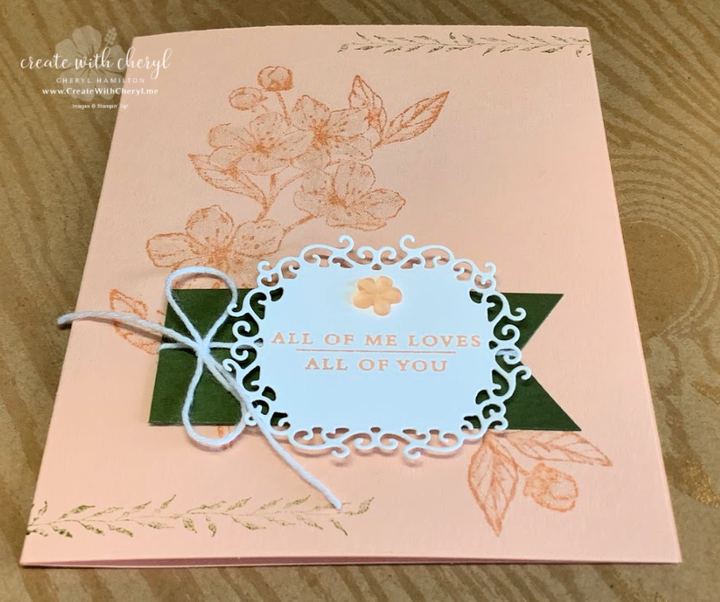 Pink glittery floral card using Forever Blossoms Stamp Set