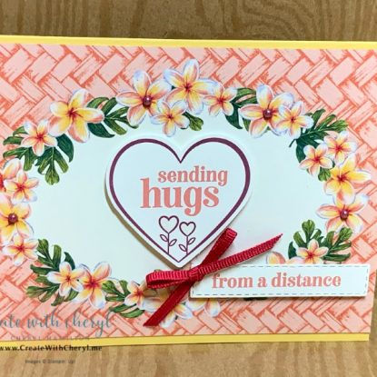 Sending hugs from a distance pink tropical card with heart