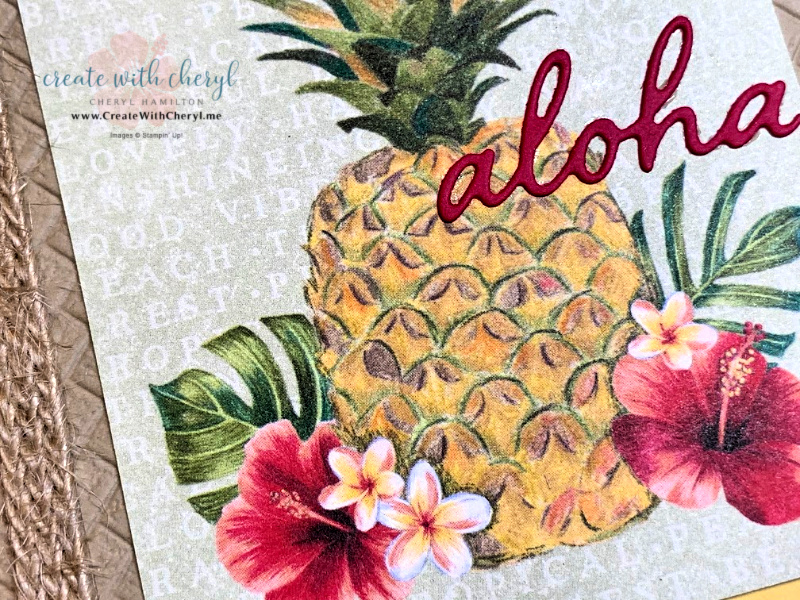 Tropical card with pineapple & Aloha