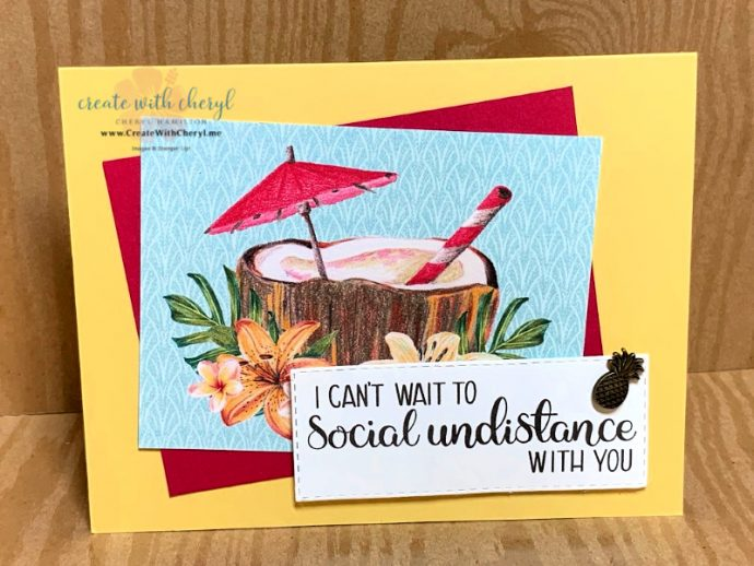 Tropical drink card can't wait to social undistance