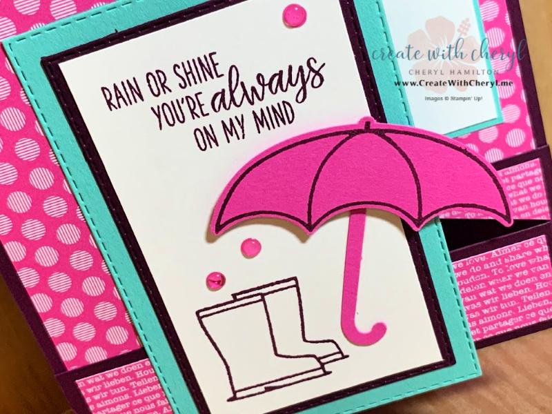 Cheryl Hamilton Under My Umbrella Magenta Madness Z-Fold Card